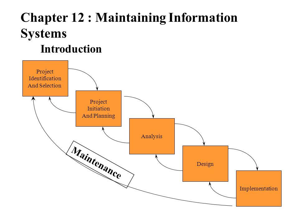 Chapter 12 : Maintaining Information Systems Process of Maintaining Obtaining Maintenance Request การรับคำขอการบำรุงของระบบมาจาก ผู้ใช้ Transforming Requests into Changes พิจารณาว่าคำขอที่รับมามีผลกระทบกับ ระบบใดบ้างถ้ามีการเปลี่ยนแปลงไปแล้วมี ความคุ้มค่าหรือไม่กับค่าใช้จ่ายที่เกิดขึ้น