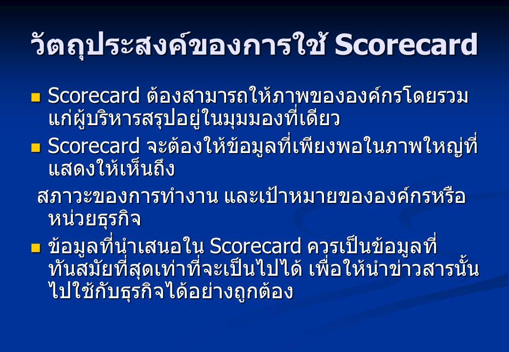 วัตถุประสงค์ของการใช้ Scorecard Scorecard ต้องสามารถให้ภาพขององค์กรโดยรวม แก่ผู้บริหารสรุปอยู่ในมุมมองที่เดียว Scorecard ต้องสามารถให้ภาพขององค์กรโดยร