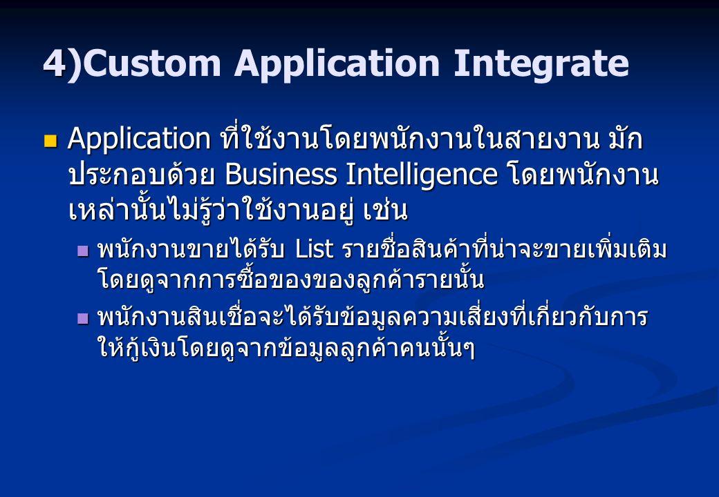 4 4)Custom Application Integrate Application ที่ใช้งานโดยพนักงานในสายงาน มัก ประกอบด้วย Business Intelligence โดยพนักงาน เหล่านั้นไม่รู้ว่าใช้งานอยู่