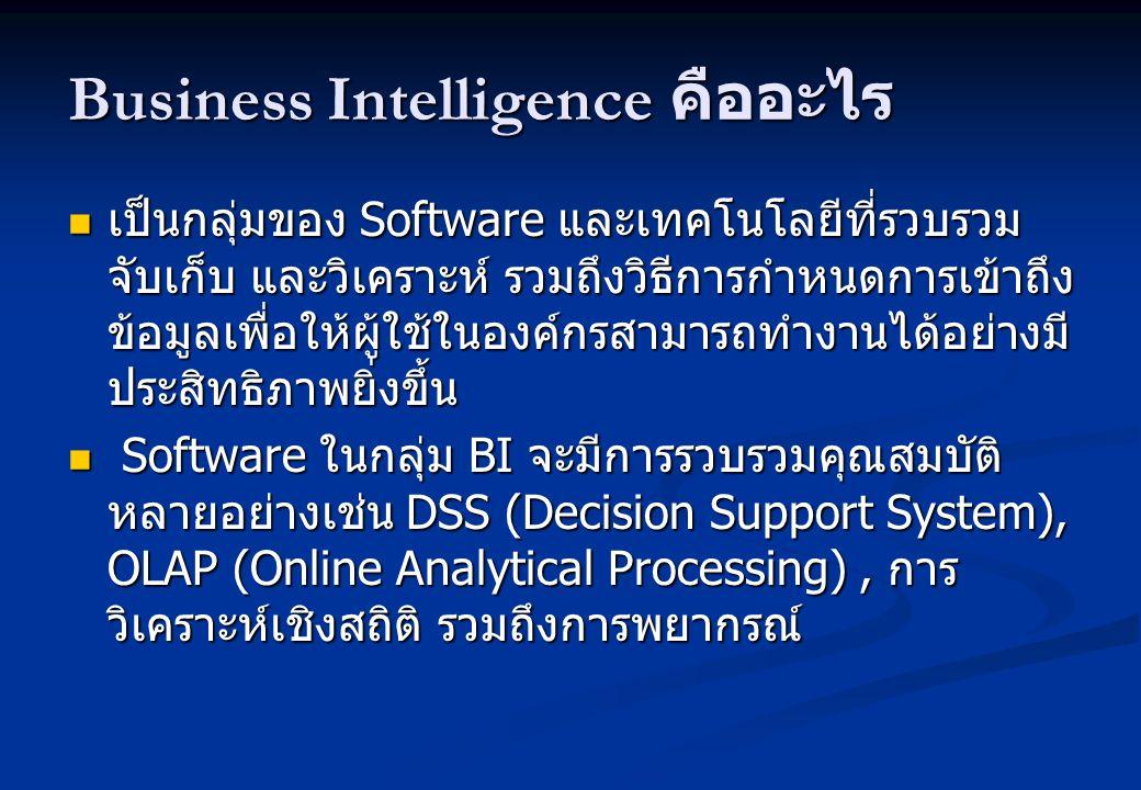 Business Intelligence คืออะไร เป็นกลุ่มของ Software และเทคโนโลยีที่รวบรวม จับเก็บ และวิเคราะห์ รวมถึงวิธีการกำหนดการเข้าถึง ข้อมูลเพื่อให้ผู้ใช้ในองค์