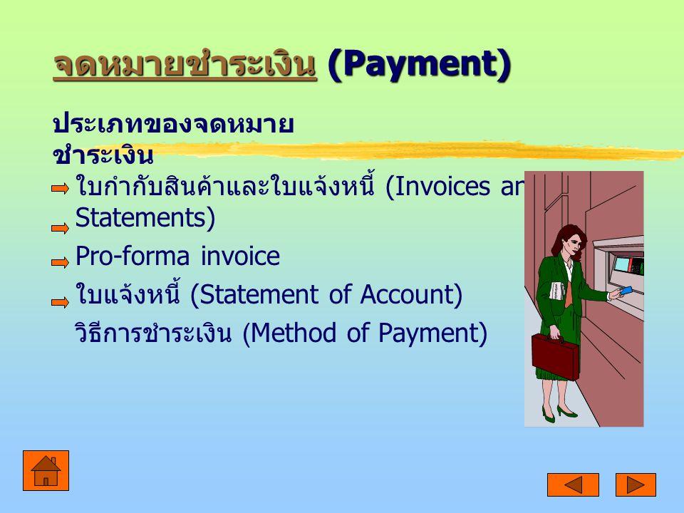 จดหมายชำระเงิน จดหมายชำระเงิน (Payment) จดหมายชำระเงิน ใบกำกับสินค้าและใบแจ้งหนี้ (Invoices and Statements) Pro-forma invoice ใบแจ้งหนี้ (Statement of Account) วิธีการชำระเงิน (Method of Payment) ประเภทของจดหมาย ชำระเงิน