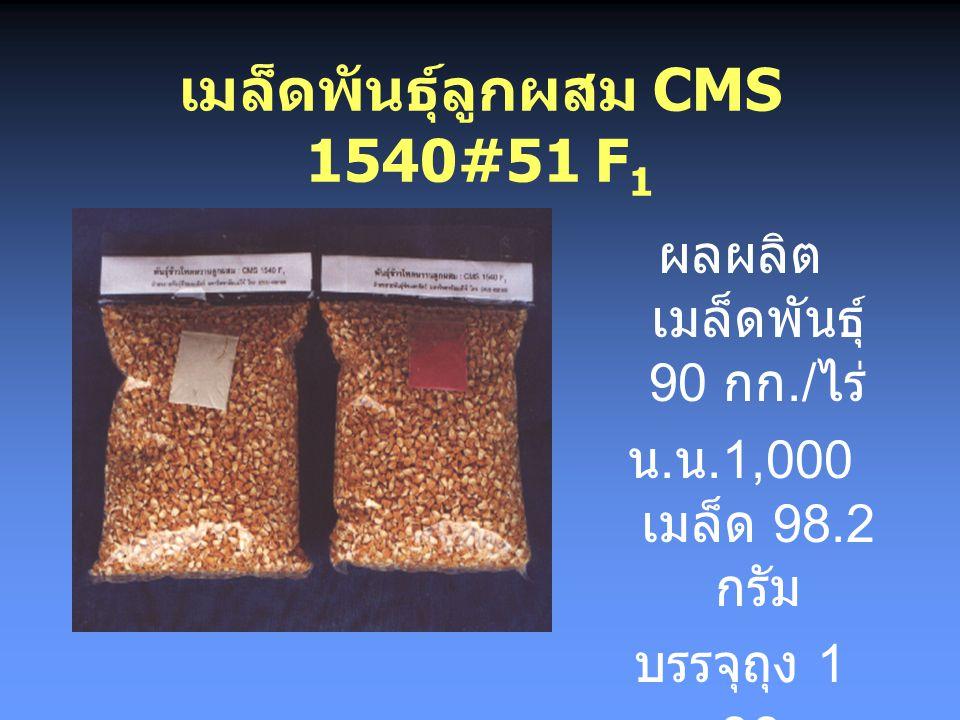 ผลการวิจัย ปี 2541 D การผลิตเพื่อผลิต เมล็ดพันธุ์ชั่วที่ 1 แถวตัวเมีย : แถว ตัวผู้ 3 : 1 ระยะปลูก 65 x 25 x 2 อายุเก็บเกี่ยว 100 วัน