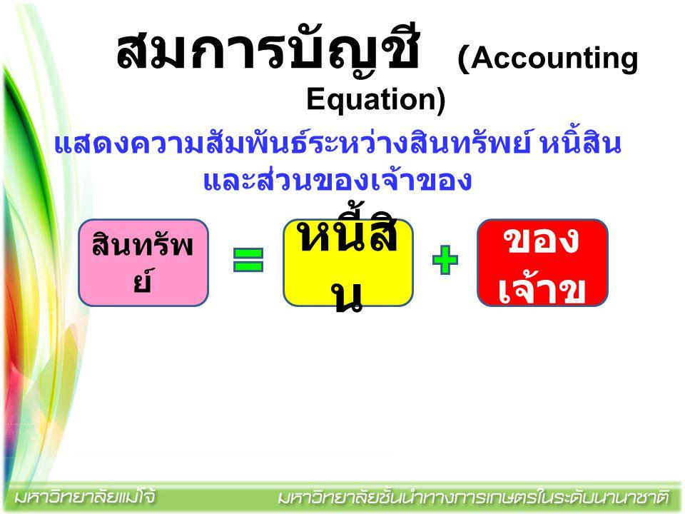 สมการบัญชี (Accounting Equation) สินทรัพ ย์ หนี้สิ น ส่วน ของ เจ้าข อง แสดงความสัมพันธ์ระหว่างสินทรัพย์ หนิ้สิน และส่วนของเจ้าของ