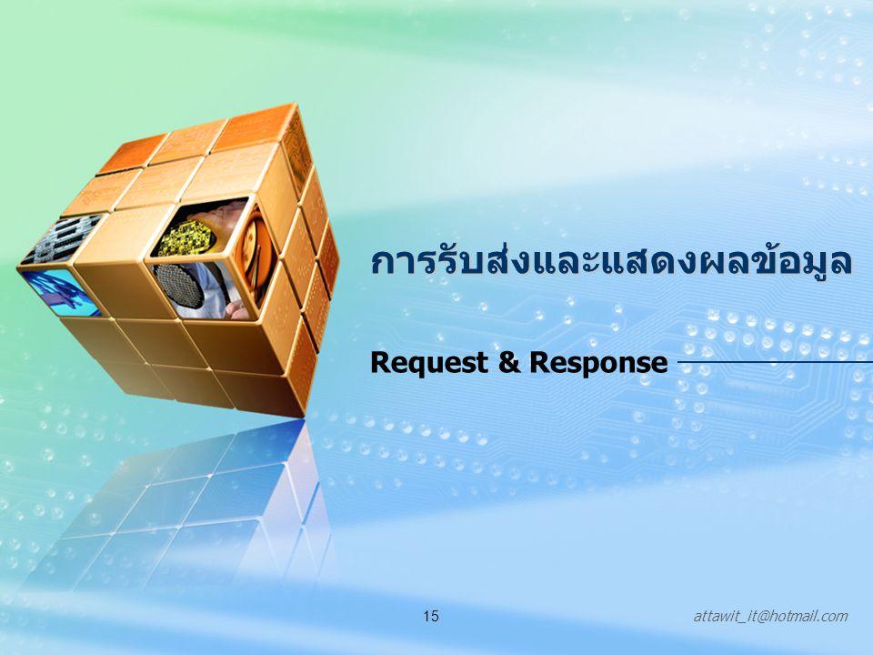 attawit_it@hotmail.com15 การรับส่งและแสดงผลข้อมูล Request & Response