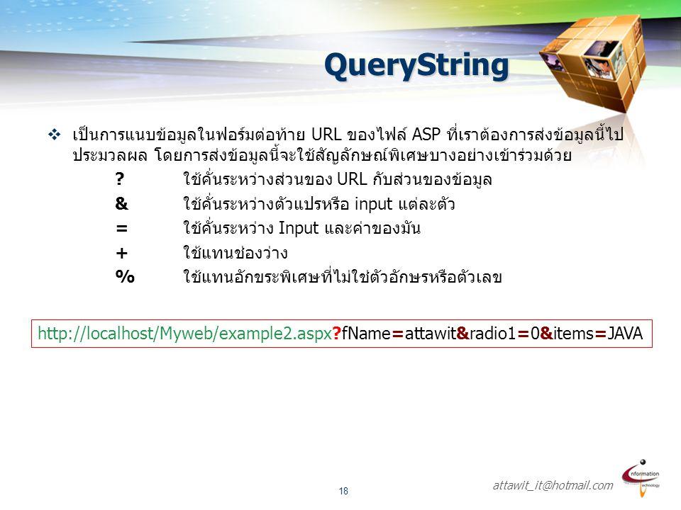 attawit_it@hotmail.com 18 QueryString  เป็นการแนบข้อมูลในฟอร์มต่อท้าย URL ของไฟล์ ASP ที่เราต้องการส่งข้อมูลนี้ไป ประมวลผล โดยการส่งข้อมูลนี้จะใช้สัญ