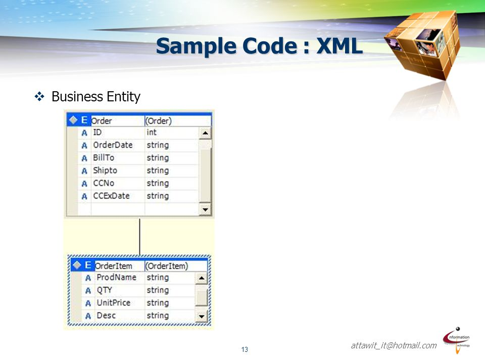 attawit_it@hotmail.com 13 Sample Code : XML  Business Entity