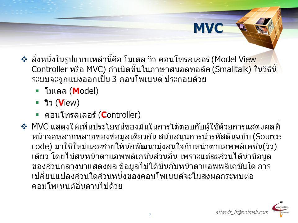 attawit_it@hotmail.com 2 MVC  สิ่งหนึ่งในรูปแบบเหล่านี้คือ โมเดล วิว คอนโทรลเลอร์ (Model View Controller หรือ MVC) กำเนิดขึ้นในภาษาสมอลทอล์ค (Smallta