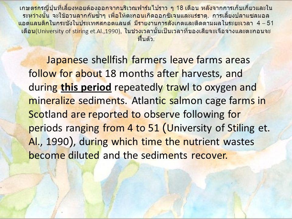 เกษตรกรญี่ปุ่นที่เลี้ยงหอยต้องออกจากบริเวณฟาร์มไปราว ๆ 18 เดือน หลังจากการเก็บเกี่ยวและใน ระหว่างนั้น จะใช้อวนลากกันซ้ำๆ เพื่อให้ตะกอนเกิดออกซิเจนและแร่ธาตุ.