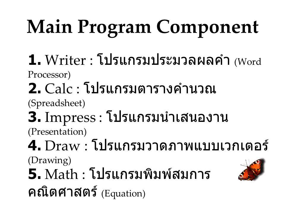Main Program Component 1.Writer : โปรแกรมประมวลผลคำ (Word Processor) 2.