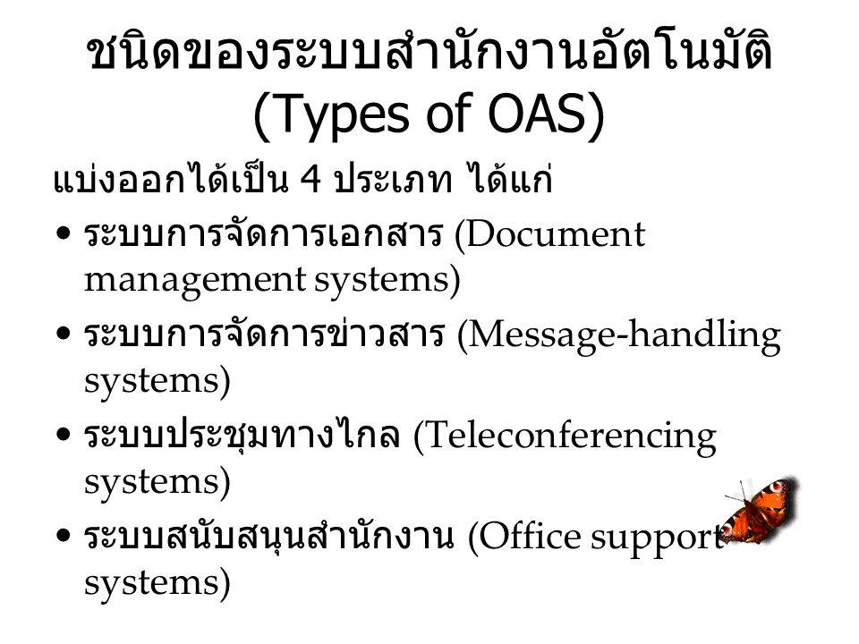 ชนิดของระบบสำนักงานอัตโนมัติ (Types of OAS) แบ่งออกได้เป็น 4 ประเภท ได้แก่ ระบบการจัดการเอกสาร (Document management systems) ระบบการจัดการข่าวสาร (Message-handling systems) ระบบประชุมทางไกล (Teleconferencing systems) ระบบสนับสนุนสำนักงาน (Office support systems)