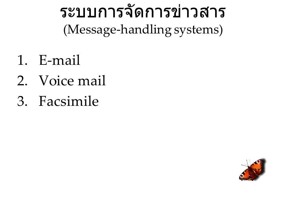 ระบบการจัดการข่าวสาร (Message-handling systems) 1.E-mail 2.Voice mail 3.Facsimile