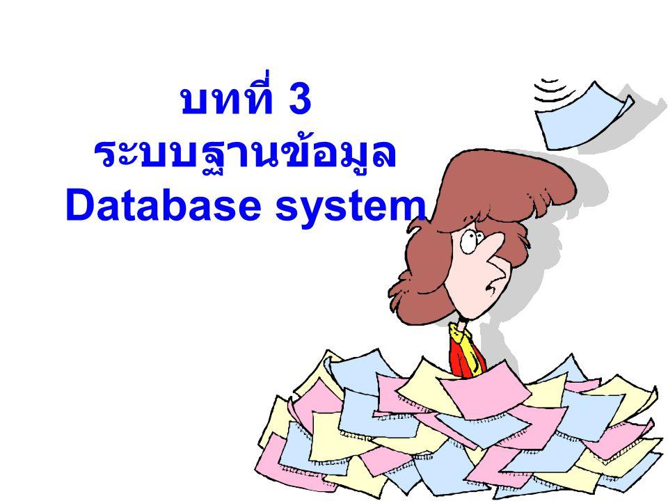 หัวข้อที่ศึกษา แนวคิดของฐานข้อมูล โครงสร้างของระบบฐานข้อมูลเชิง สัมพันธ์ เครื่องมือช่วยในการออกแบบ ฐานข้อมูล การสร้างโมเดลข้อมูลของระบบ สารสนเทศทางการบัญชี ตัวอย่าง การสร้างฐานข้อมูลใน โปรแกรม Access วัตถุประสงค์การศึกษา : เพื่อศึกษาการออกแบบ และการประยุกต์ระบบฐานข้อมูลสำหรับระบบ สารสนเทศทางการบัญชี