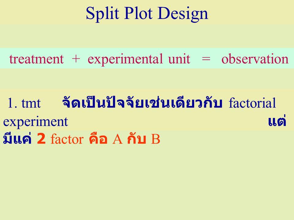 1. tmt จัดเป็นปัจจัยเช่นเดียวกับ factorial experiment แต่ มีแค่ 2 factor คือ A กับ B Split Plot Design treatment + experimental unit = observation