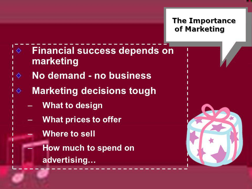 Financial success depends on marketing No demand - no business Marketing decisions tough –What to design –What prices to offer –Where to sell –How muc