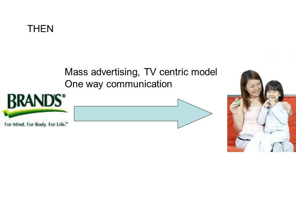 Mass advertising, TV centric model One way communication THEN