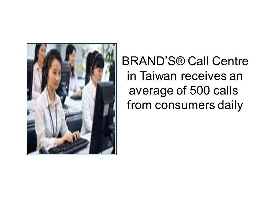 BRAND'S® Call Centre in Taiwan receives an average of 500 calls from consumers daily Picture of Call Centre in Taiwan