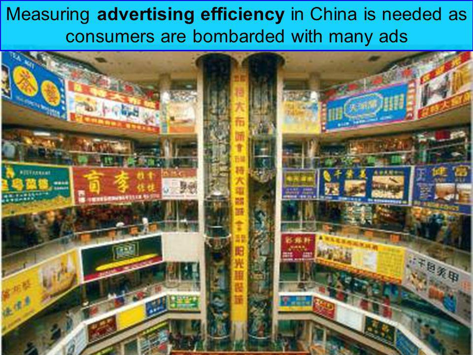 Measuring advertising efficiency in China is needed as consumers are bombarded with many ads