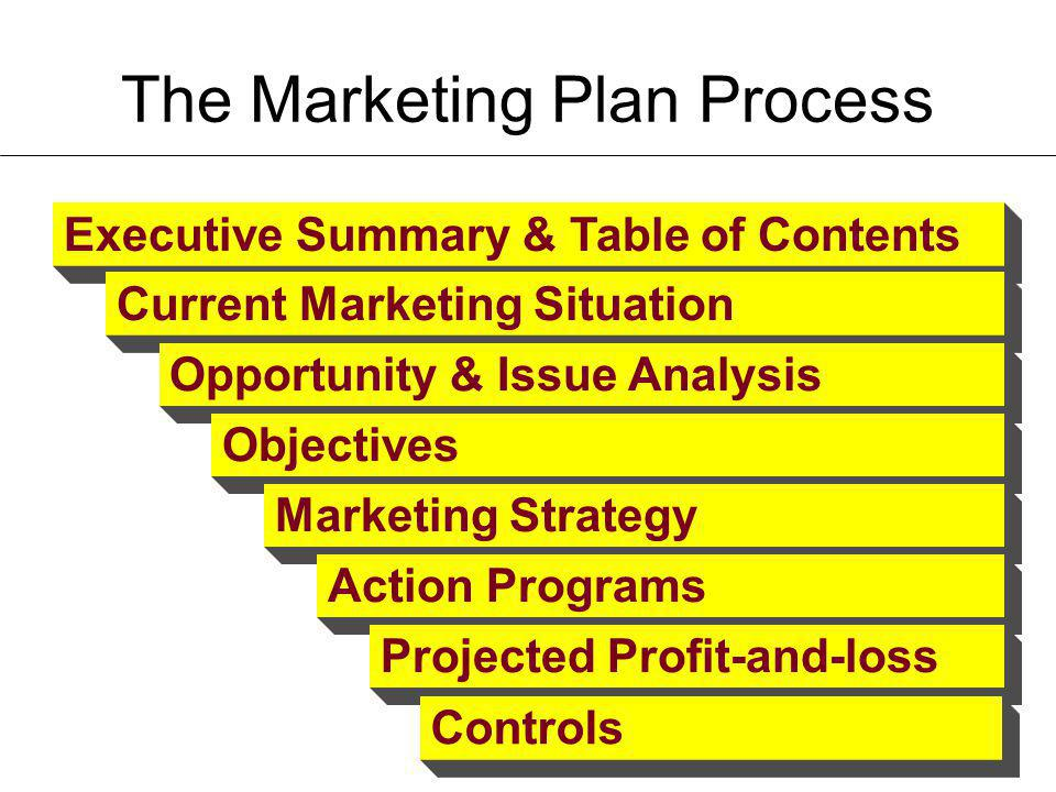 The Marketing Plan Process Executive Summary & Table of Contents Current Marketing Situation Opportunity & Issue Analysis Objectives Marketing Strateg