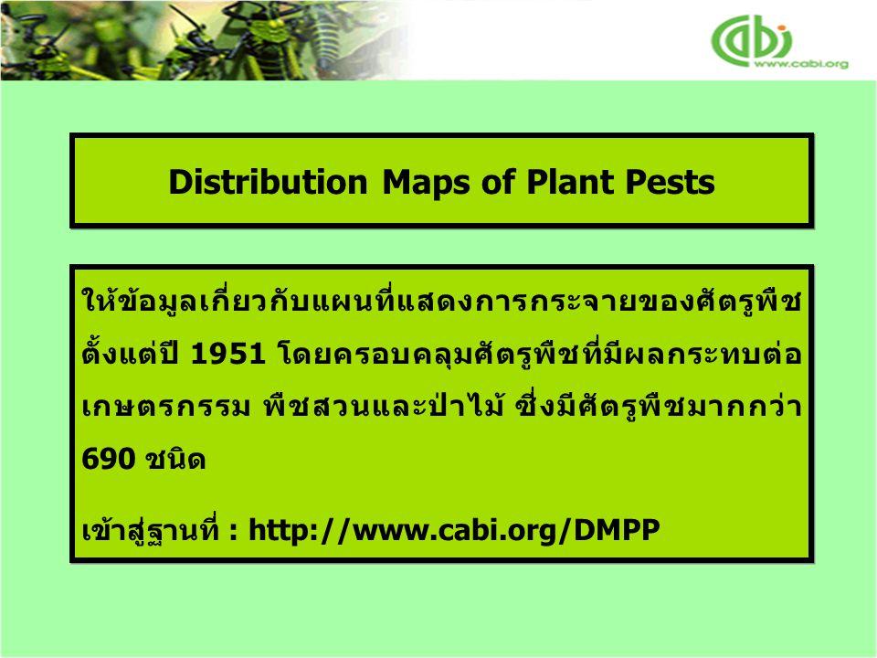 Distribution Maps of Plant Pests ให้ข้อมูลเกี่ยวกับแผนที่แสดงการกระจายของศัตรูพืช ตั้งแต่ปี 1951 โดยครอบคลุมศัตรูพืชที่มีผลกระทบต่อ เกษตรกรรม พืชสวนและป่าไม้ ซี่งมีศัตรูพืชมากกว่า 690 ชนิด เข้าสู่ฐานที่ : http://www.cabi.org/DMPP ให้ข้อมูลเกี่ยวกับแผนที่แสดงการกระจายของศัตรูพืช ตั้งแต่ปี 1951 โดยครอบคลุมศัตรูพืชที่มีผลกระทบต่อ เกษตรกรรม พืชสวนและป่าไม้ ซี่งมีศัตรูพืชมากกว่า 690 ชนิด เข้าสู่ฐานที่ : http://www.cabi.org/DMPP