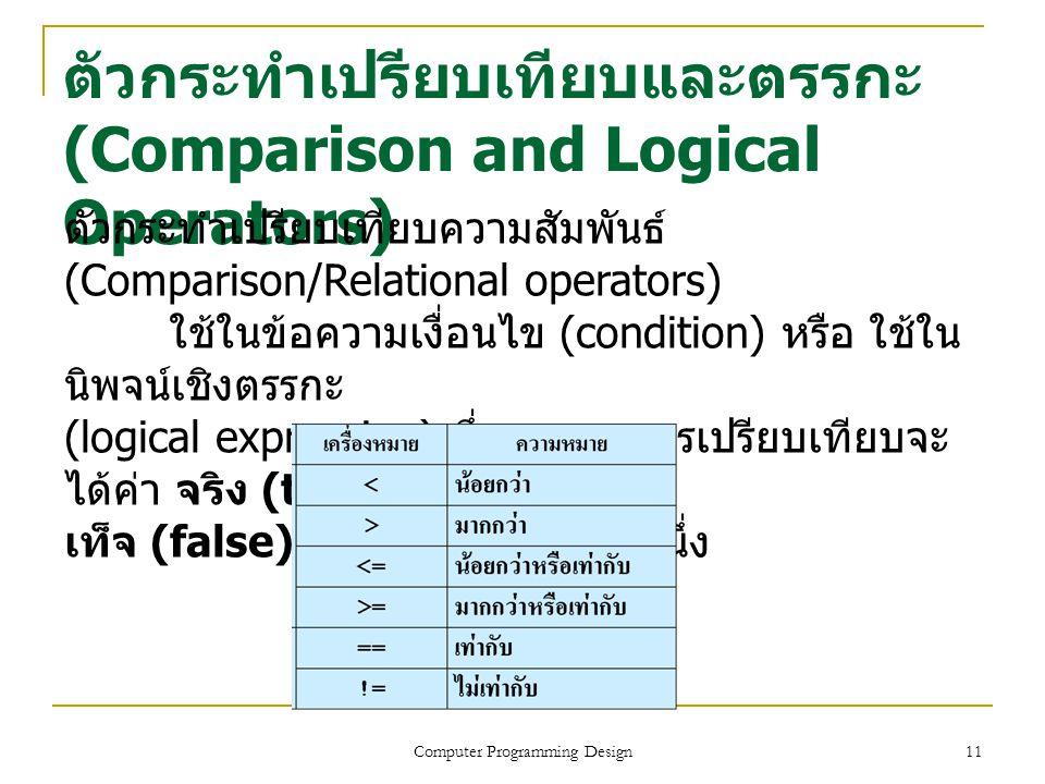 11 ตัวกระทำเปรียบเทียบและตรรกะ (Comparison and Logical Operators) Computer Programming Design ตัวกระทำเปรียบเทียบความสัมพันธ์ (Comparison/Relational o