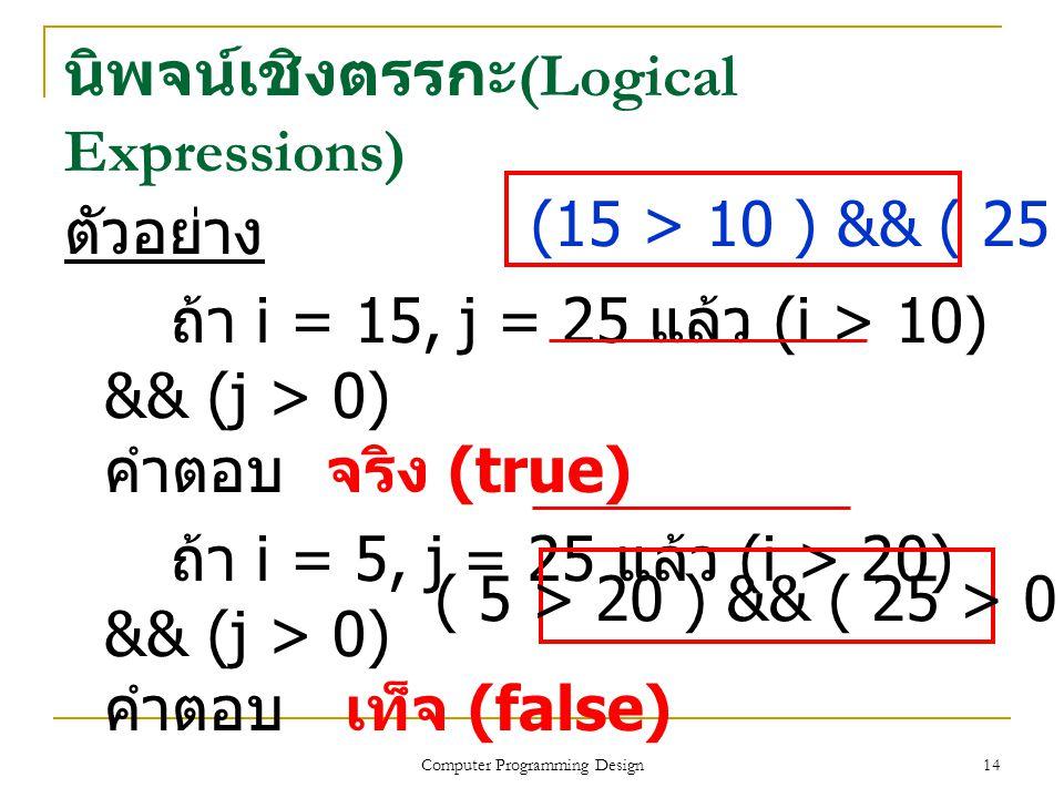 14 ตัวอย่าง ถ้า i = 15, j = 25 แล้ว (i > 10) && (j > 0) คำตอบ จริง (true) ถ้า i = 5, j = 25 แล้ว (i > 20) && (j > 0) คำตอบ เท็จ (false) นิพจน์เชิงตรรก