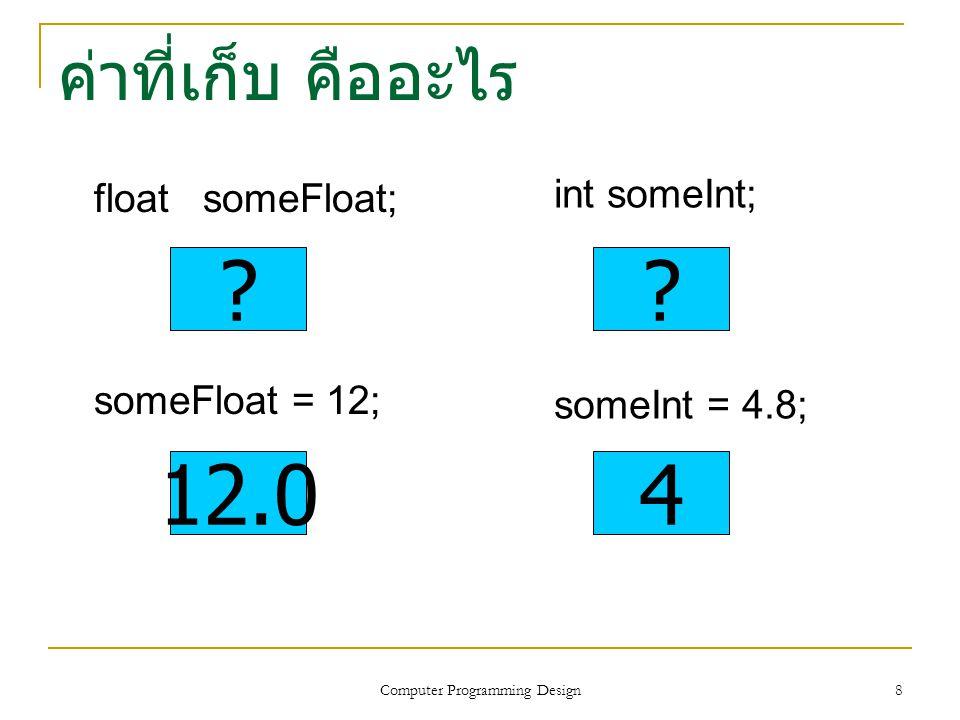 9 Type Casting (Explicit Conversion int (4.8) เปลี่ยนชนิดข้อมูลเป็นจำนวน เต็ม 4 float (5) เปลี่ยนชนิดข้อมูลเป็นจำนวน จริง 5.0 float (7/4) เปลี่ยนผลหารจำนวนเต็ม 1 เป็น จำนวนจริง 1.0 float (7) / float (4) เปลี่ยนเป็นจำนวนจริง 7.0 และ 4.0 แล้วจึงคำนวณผลหาร 7.0/4.0 ได้ จำนวนจริง 1.75 Computer Programming Design