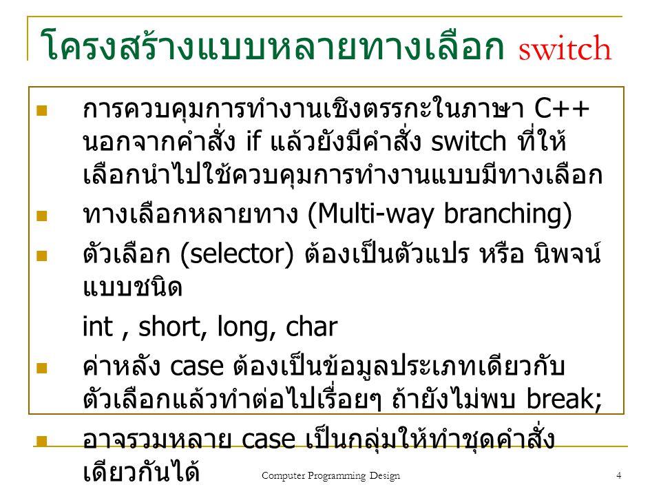 โครงสร้างแบบหลายทางเลือก switch ภาษา C++ ออกแบบคำสั่ง switch ให้ทำงาน ลักษณะวิเคราะห์ ตรวจสอบค่าของตัวแปร หรือ นิพจน์ว่าตรงกับค่าภายในคำสั่ง case ใด และจะทำงานตามคำสั่งภายใต้การควบคุมของ คำสั่ง case นั้นๆ แต่หากตรวจสอบแล้วไม่ตรงกับ คำสั่งใดเลย จะทำงานภายใต้คำสั่ง default ข้อควรจำ เงื่อนไขที่ใช้กับคำสั่ง switch ต้องเป็นคำสั่งแบบ ประโยคเงื่อนไขแบบ 1 ประโยค ไม่สามารถใช้ประโยคเงื่อนไขซ้อนกันได้ การทำงานของ switch จะต้องมีคำสั่ง break เพื่ออกจากการทำงานของ case นั้นโดยไม่ต้องผ่าน case ถัดไป Computer Programming Design