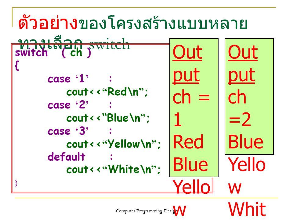 ตัวอย่าง ของโครงสร้างแบบหลาย ทางเลือก switch Computer Programming Design Out put ch = 1 Red Blue Yello w Whit e Out put ch =2 Blue Yello w Whit e