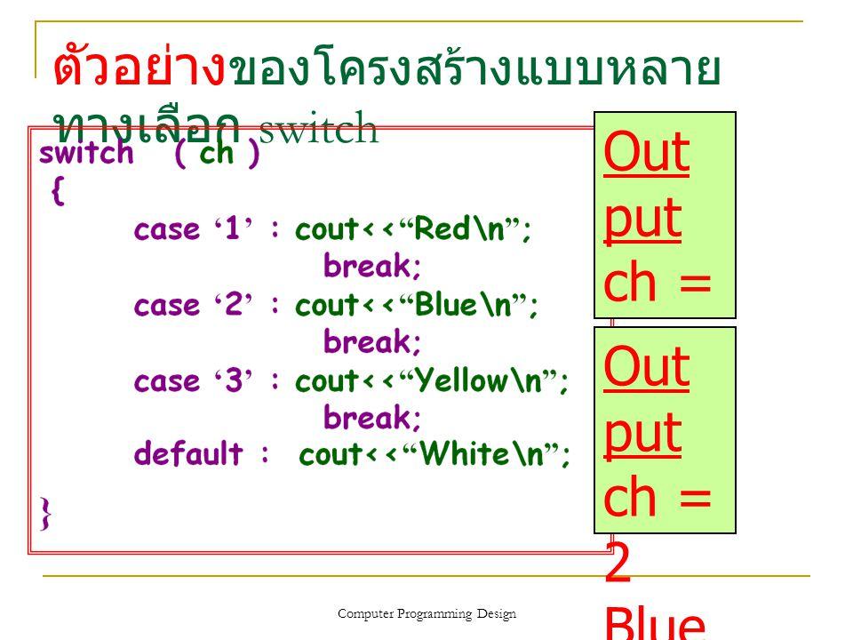ตัวอย่าง ของโครงสร้างแบบหลาย ทางเลือก switch Computer Programming Design Out put ch = 1 Red Out put ch = 2 Blue