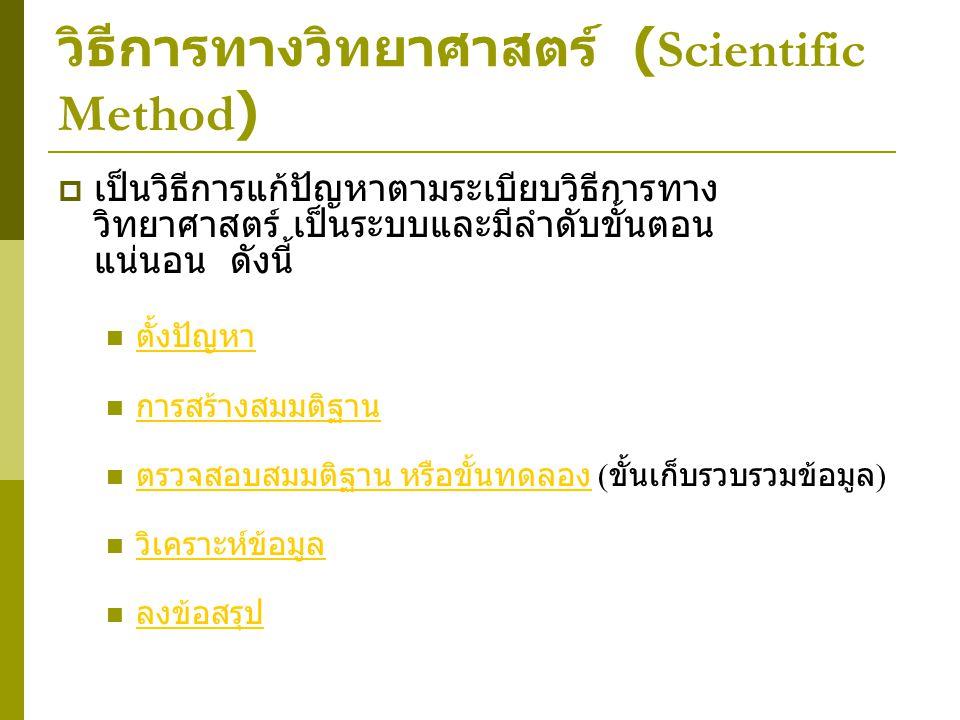 วิธีการทางวิทยาศาสตร์ (Scientific Method)  เป็นวิธีการแก้ปัญหาตามระเบียบวิธีการทาง วิทยาศาสตร์ เป็นระบบและมีลำดับขั้นตอน แน่นอน ดังนี้ ตั้งปัญหา การส