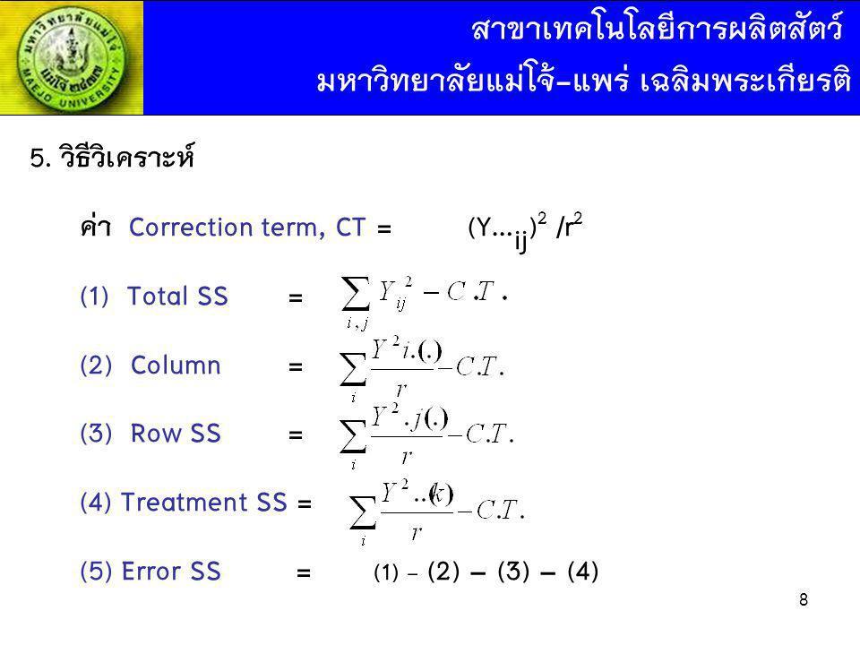 5. วิธีวิเคราะห์ ค่า Correction term, CT = (Y… ij ) 2 /r 2 (1) Total SS = (2) Column= (3) Row SS = (4) Treatment SS = (5) Error SS = (1) - (2) – (3) –