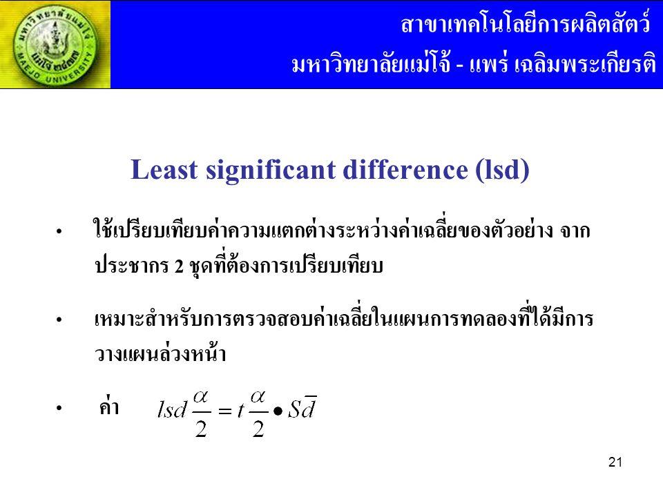 Least significant difference (lsd) ใช้เปรียบเทียบค่าความแตกต่างระหว่างค่าเฉลี่ยของตัวอย่าง จาก ประชากร 2 ชุดที่ต้องการเปรียบเทียบ เหมาะสำหรับการตรวจสอบค่าเฉลี่ยในแผนการทดลองที่ได้มีการ วางแผนล่วงหน้า ค่า สาขาเทคโนโลยีการผลิตสัตว์ มหาวิทยาลัยแม่โจ้ - แพร่ เฉลิมพระเกียรติ 21