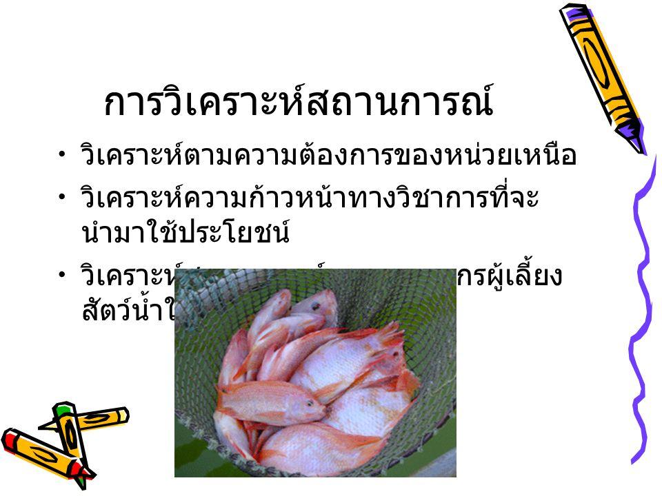 การกำหนดวัตถุประสงค์ สถานการณ์การเลี้ยงปลานิลในบ่อดิน จังหวัดเชียงราย ปลาตาย คุณภาพน้ำ ?? โรค ??