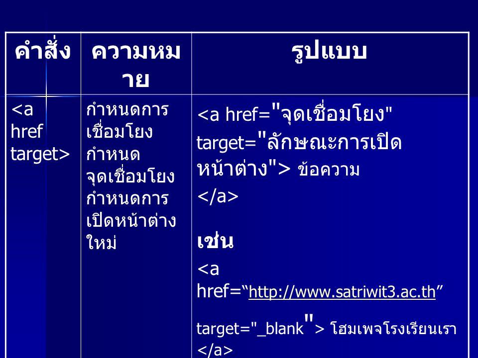 คำสั่งความหม าย รูปแบบ กำหนดการ เชื่อมโยง กำหนด จุดเชื่อมโยง กำหนดการ เปิดหน้าต่าง ใหม่ ข้อความ เช่น <a href= http://www.satriwit3.ac.th http://www.satriwit3.ac.th target= _blank > โฮมเพจโรงเรียนเรา