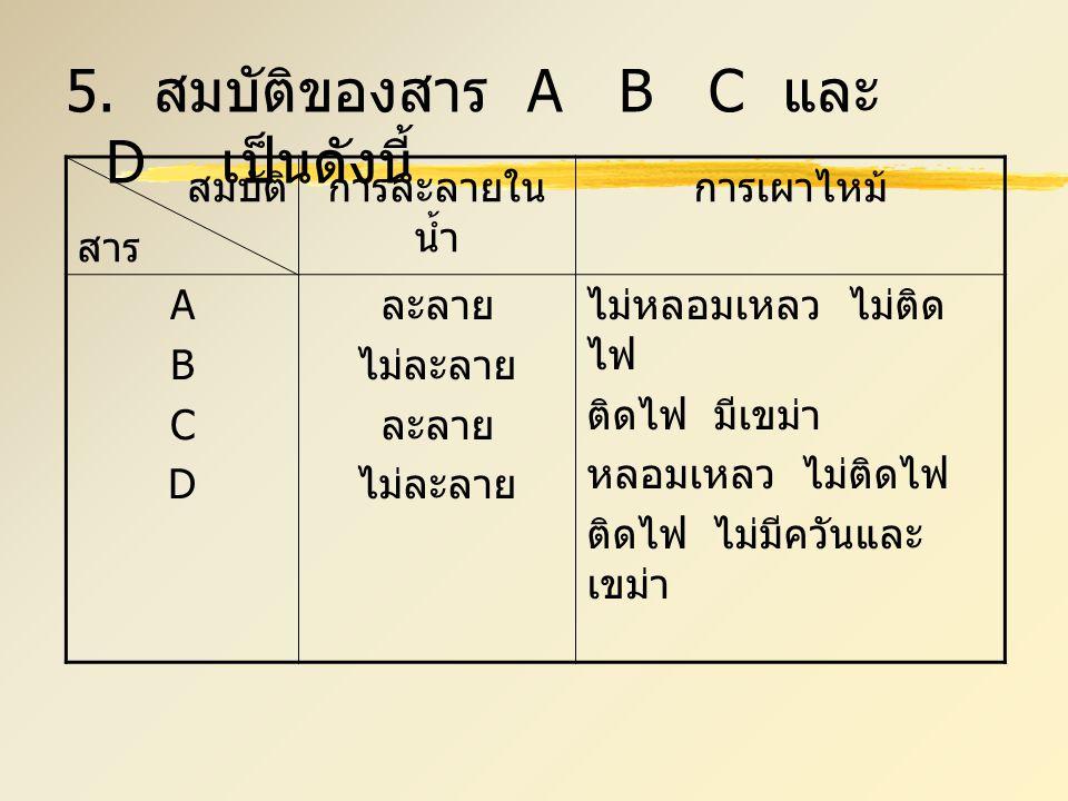 5. สมบัติของสาร A B C และ D เป็นดังนี้ สมบัติ สาร การละลายใน น้ำ การเผาไหม้ ABCDABCD ละลาย ไม่ละลาย ละลาย ไม่ละลาย ไม่หลอมเหลว ไม่ติด ไฟ ติดไฟ มีเขม่า