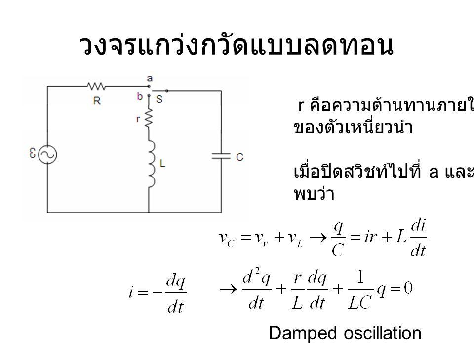 วงจรแกว่งกวัดแบบลดทอน r คือความต้านทานภายใน ของตัวเหนี่ยวนำ เมื่อปิดสวิชท์ไปที่ a และ b พบว่า Damped oscillation