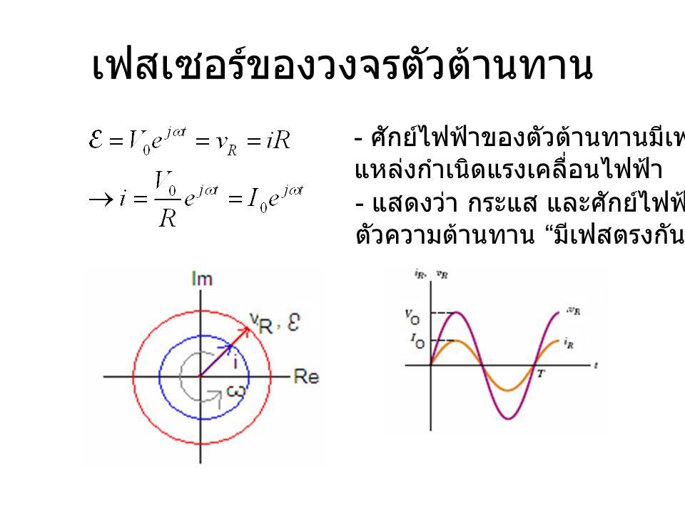 """เฟสเซอร์ของวงจรตัวต้านทาน - แสดงว่า กระแส และศักย์ไฟฟ้าของ ตัวความต้านทาน """" มีเฟสตรงกัน """" - ศักย์ไฟฟ้าของตัวต้านทานมีเฟสตรงกับ แหล่งกำเนิดแรงเคลื่อนไฟ"""