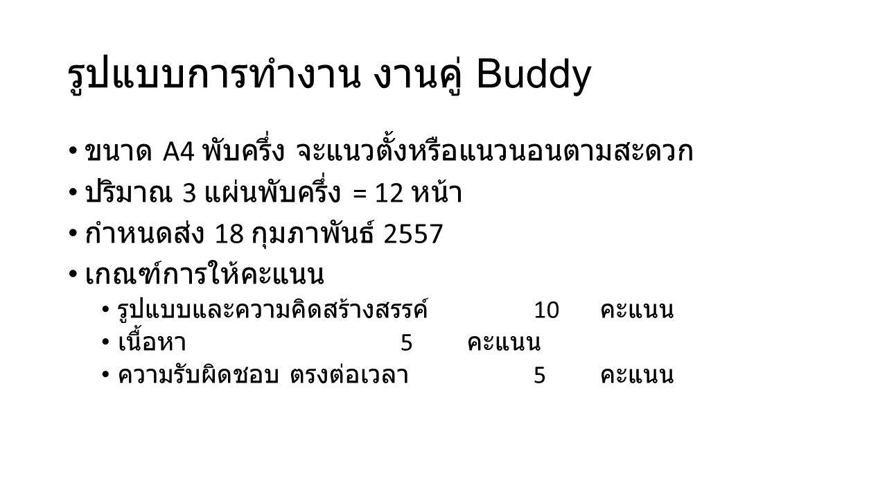 รูปแบบการทำงาน งานคู่ Buddy ขนาด A4 พับครึ่ง จะแนวตั้งหรือแนวนอนตามสะดวก ปริมาณ 3 แผ่นพับครึ่ง = 12 หน้า กำหนดส่ง 18 กุมภาพันธ์ 2557 เกณฑ์การให้คะแนน รูปแบบและความคิดสร้างสรรค์ 10 คะแนน เนื้อหา 5 คะแนน ความรับผิดชอบ ตรงต่อเวลา 5 คะแนน