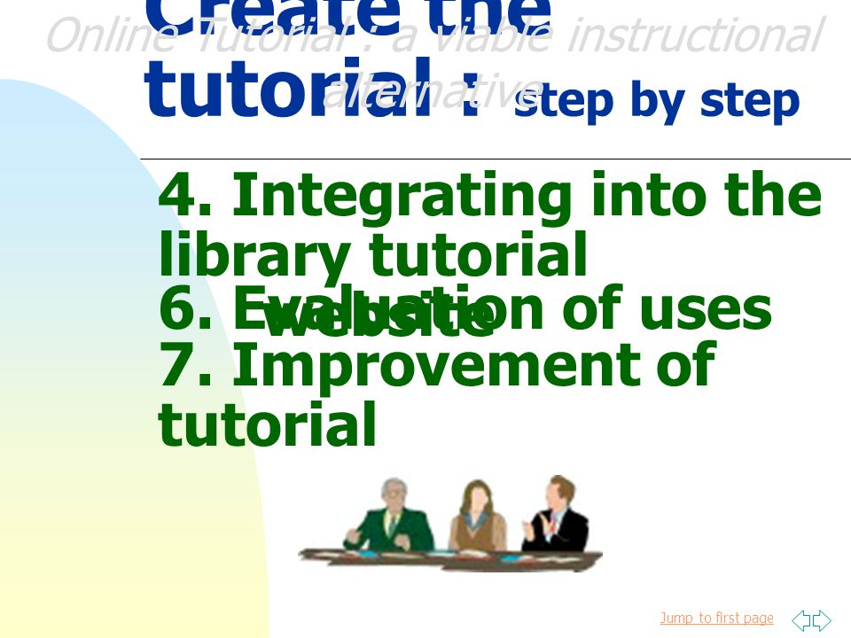 Jump to first page Create the tutorial : step by step 3.