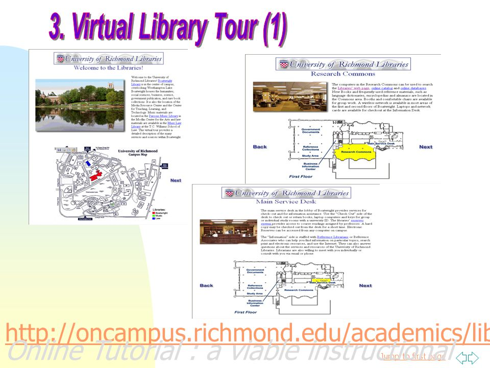 Jump to first page http://oncampus.richmond.edu/academics/library/list/ Online Tutorial : a viable instructional alternative