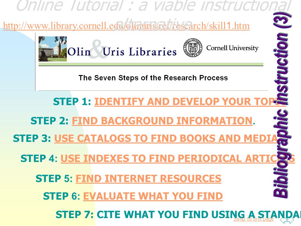 Jump to first page http://www.library.cornell.edu/olinuris/ref/research/tutorial.html Online Tutorial : a viable instructional alternative