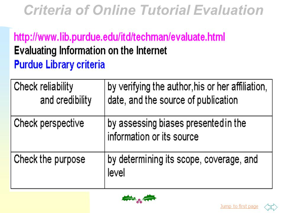 Jump to first page Online Tutorial : a viable instructional alternative Online Tutorial Evaluation Criteria of Online Tutorial Evaluation