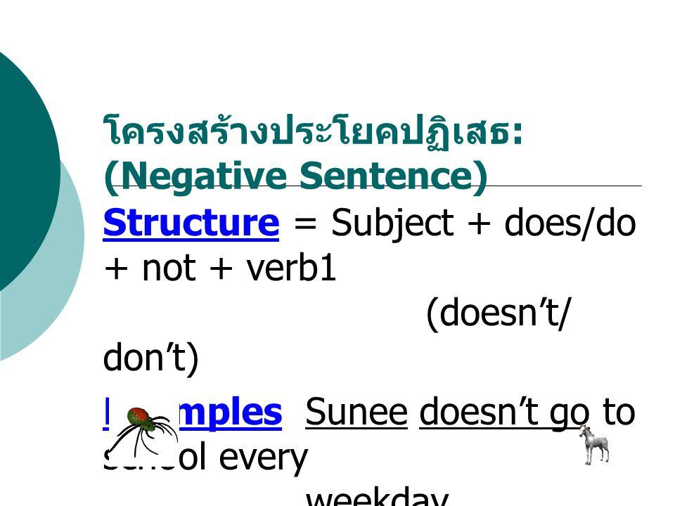 แต่ถ้าประโยคไหนที่มี Verb to be ( is, am, are) มาเป็นกริยามาในประโยค นักเรียนไม่ ต้องเอาเจ้า Verb to do (do, does) เข้ามา ช่วยนะขอรับ เดี๋ยวมันจะวางมวย เอ้ย...