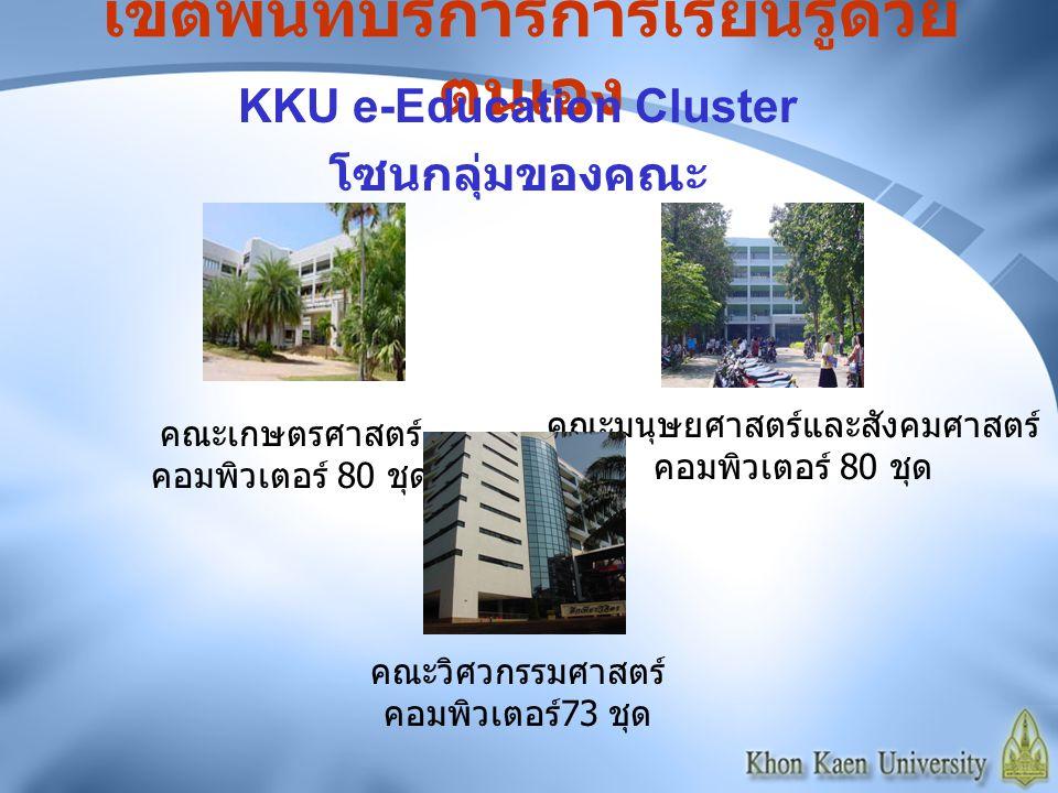 เขตพื้นที่บริการการเรียนรู้ด้วย ตนเอง KKU e-Education Cluster โซนหอพักนักศึกษาชาย หอพักนักศึกษาชายที่ 7 คอมพิวเตอร์ 40 ชุด หอพักนักศึกษาชายที่ 27 คอมพิวเตอร์ 30 ชุด หอพักนักศึกษาชายที่ 9 หลังที่ 2 คอมพิวเตอร์ 21 ชุด