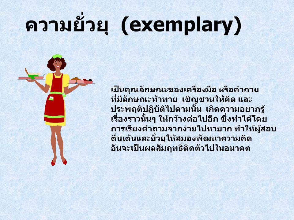 ความยั่วยุ (exemplary) เป็นคุณลักษณะของเครื่องมือ หรือคำถาม ที่มีลักษณะท้าทาย เชิญชวนให้คิด และ ประพฤติปฏิบัติไปตามนั้น เกิดความอยากรู้ เรื่องราวนั้นๆ