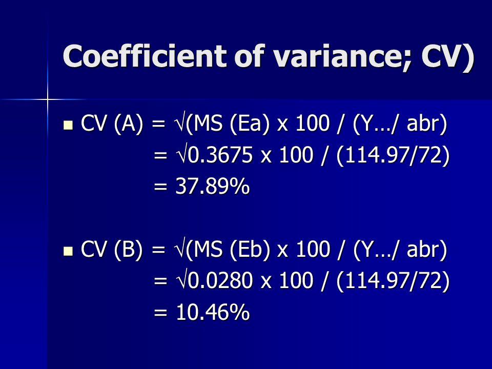 Coefficient of variance; CV) CV (A) =  (MS (Ea) x 100 / (Y…/ abr) CV (A) =  (MS (Ea) x 100 / (Y…/ abr) =  0.3675 x 100 / (114.97/72) =  0.3675 x 1
