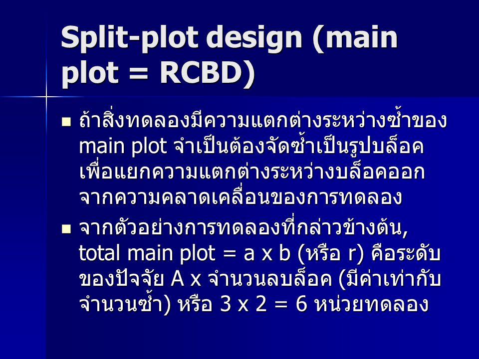Split-plot design (main plot = RCBD) ถ้าสิ่งทดลองมีความแตกต่างระหว่างซ้ำของ main plot จำเป็นต้องจัดซ้ำเป็นรูปบล็อค เพื่อแยกความแตกต่างระหว่างบล็อคออก