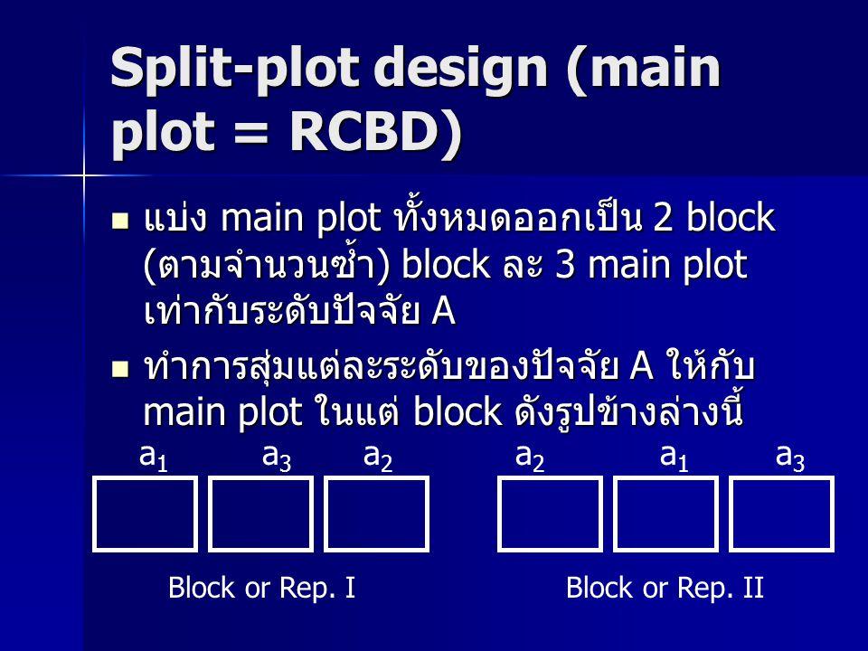 Split-plot design (main plot = RCBD) แบ่ง main plot ทั้งหมดออกเป็น 2 block (ตามจำนวนซ้ำ) block ละ 3 main plot เท่ากับระดับปัจจัย A แบ่ง main plot ทั้ง