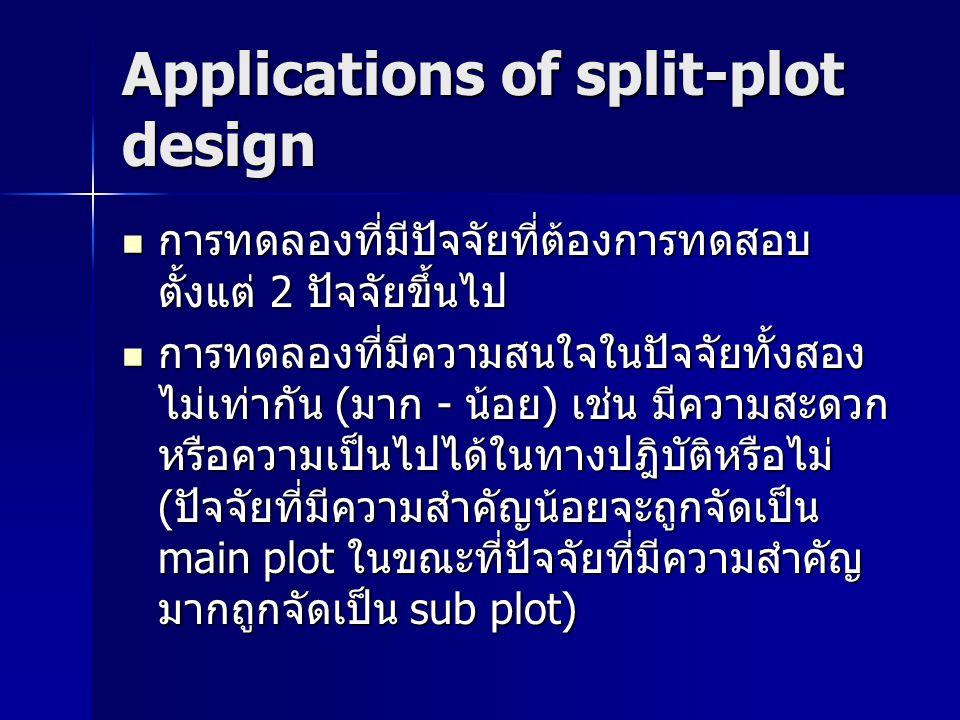 Randomization and layout แผนการทดลอง split-plot เป็นแผนการ ทดลองผสมระหว่างแผนการทดลองพื้นฐาน main plot) กับแผนการทดลองสุ่มในบล็อค สมบูรณ์ (sub plot) [randomized complete block design; RCBD] แผนการทดลอง split-plot เป็นแผนการ ทดลองผสมระหว่างแผนการทดลองพื้นฐาน main plot) กับแผนการทดลองสุ่มในบล็อค สมบูรณ์ (sub plot) [randomized complete block design; RCBD] การจัดเรียงตัวของ main plot จะขึ้นอยู่ แผนการทดลองที่เลือกใช้ เช่น complete random design (CRD), RCBD หรือ latin square design (LSD) การจัดเรียงตัวของ main plot จะขึ้นอยู่ แผนการทดลองที่เลือกใช้ เช่น complete random design (CRD), RCBD หรือ latin square design (LSD)