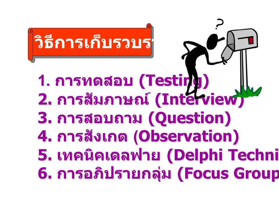 วิธีการเก็บรวบรวมข้อมูล 1. การทดสอบ (Testing) 2. การสัมภาษณ์ (Interview) 3. การสอบถาม (Question) 4. การสังเกต (Observation) 5. เทคนิคเดลฟาย (Delphi Te